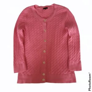 Talbots sz M cable knit button front pink cardigan